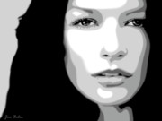Acteur Digital Art Prints - Catherine Zeta Jones 3 Print by Jim Belin