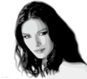 Catherine Digital Art Framed Prints - Catherine Zeta Jones 4 Framed Print by Jim Belin