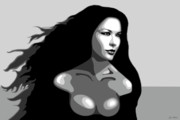 Catherine Digital Art Prints - Catherine Zeta Jones 9a Print by Jim Belin