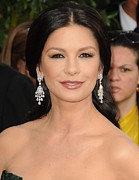Diamond Earrings Framed Prints - Catherine Zeta-jones Wearing Van Cleef Framed Print by Everett