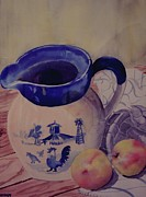 Table Cloth Paintings - Cathies pitcher by W R  Hersom