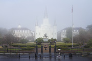 Foggy Day Prints - Catholic Cathedral and Gated Grounds Print by Jeremy Woodhouse