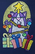 Presents Pastels Posters - Catmas Tree Poster by Wendy CHO