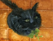 Black Feline Framed Prints - Catnip Yum  Framed Print by Vicky Watkins