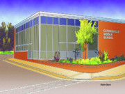 Auction Digital Art Prints - Catonsville Middle School Print by Stephen Younts