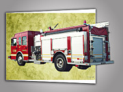 Transportation Ceramics Prints - Catoosa Fire Engine 4 Print by Linda Deal