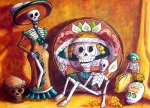 Day Of The Dead Skeleton Posters - Catrina Still Life Poster by Candy Mayer