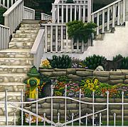 Gray Cat Paintings - Cats Among Stairs and Garden  by Carol Wilson