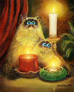 Humorous Cat Paintings - Cats and Candles No. 1 by Baron Dixon
