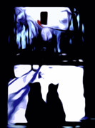 Snow Digital Art - Cats and Cardinal by Laura Brightwood