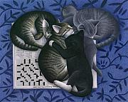 Gray Cat Paintings - Cats and Crossword  by Carol Wilson