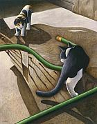 Black And White Cats Paintings - Cats and Garden Hose by Carol Wilson
