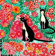 Cats Ceramics Metal Prints - Cats and Roses Metal Print by Sushila Burgess