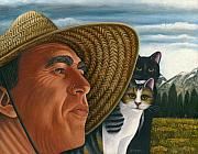 Black And White Cats Paintings - Cats and Sombrero by Carol Wilson