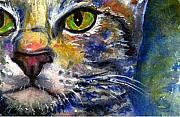 Watercolor Digital Art Originals - Cats Eyes 6 by John D Benson