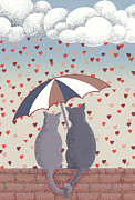 Wall Reliefs Prints - Cats in Love Print by Anne Gifford