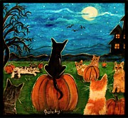Haunted House Print Prints - Cats in pumpkin patch Print by Paintings by Gretzky