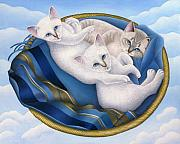Siamese Paintings - Cats in Sky Basket by Carol Wilson