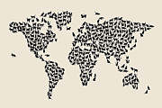 World Map Print Prints - Cats Map of the World Map Print by Michael Tompsett