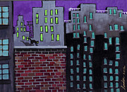 Brick Paintings - Cats Night by J Linder
