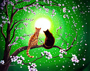 Cherry Blossoms Painting Posters - Cats on a Spring Night Poster by Laura Iverson