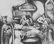 Dogs Playing Poker Prints - Cats Playing Poker Print by Warren Lindsey