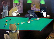 Hall Paintings - Cats Playing Pool by Gail Eisenfeld