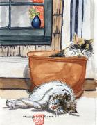 Colored Pencils Painting Originals - Cats Rule by Arlene  Wright-Correll