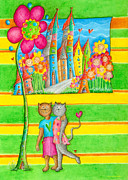 Crafts For Kids Prints - Cats World Print by Sonja Mengkowski