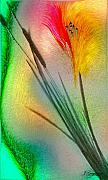 Abstract Flower Art - Cattails by Jean Gugliuzza