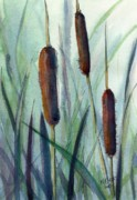 Bog Prints - Cattails Print by MaryAnn Cleary