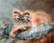 Feline Mixed Media Metal Prints - Cattitude 1 Metal Print by Carol Cavalaris