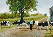 Cow Boy Paintings - Cattle Crossing by Dale Ziegler