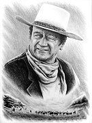 John Wayne Drawings Posters - Cattle Drive bw edit 1 Poster by Andrew Read