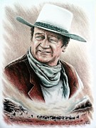 John Wayne Drawings Posters - Cattle Drive color edit 1 Poster by Andrew Read
