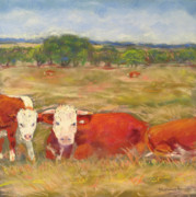Texas Pastels Originals - Cattle Guard at the LBJ Ranch by Cindy Morawski