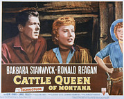 Lobbycard Framed Prints - Cattle Queen Of Montana, Ronald Reagan Framed Print by Everett