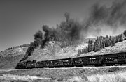 Steam Train Prints Art - Cattle Train Home Black and White by Ken Smith