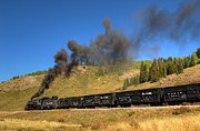 Steam Train Prints Art - Cattle Train Home by Ken Smith