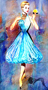 1950s Fashion Mixed Media Prints - Catwalk Circa 1950 Print by Tammera Malicki-Wong