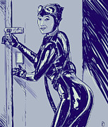 Thief Drawings - Catwoman by Giuseppe Cristiano