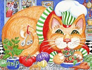 Restaurant Drawings Prints - Catzi Cacciatore Print by Dee Davis