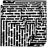 Maze Art Mixed Media Prints - Caught in the headlights maze Print by Yonatan Frimer Maze Artist