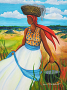 Gullah Art Posters - Caught Some Shrimp Poster by Diane Britton Dunham