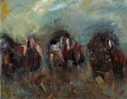 Herd Of Horses Paintings - Caught Up In The Moment by Frances Marino