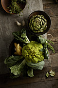 Cauliflower Photos - Cauliflower And Artichoke by Lew Robertson
