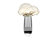 Cauliflower Photos - Cauliflower on a fork isolated on white by Richard Thomas