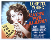 Terrified Posters - Cause For Alarm, Loretta Young, 1951 Poster by Everett