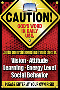 Integration Digital Art Prints - Caution Gods Word in Daily Use Print by Shevon Johnson