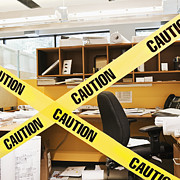 Office Cubicle Framed Prints - Caution Tape Blocking a Cubicle Entrance Framed Print by Jetta Productions, Inc